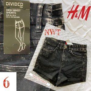 H & M Divided High Waist Black Jean Shorts NWT 6